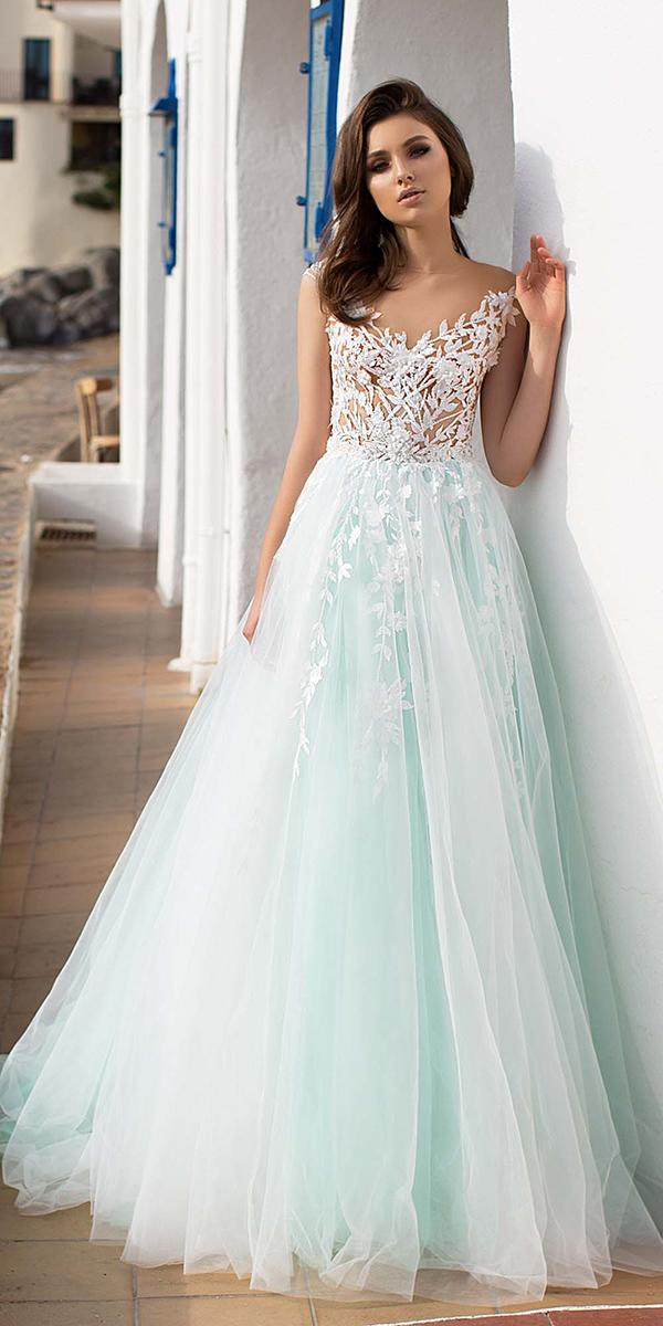 mint color aline wedding dresses with tattoo effect lace neckline allegresse