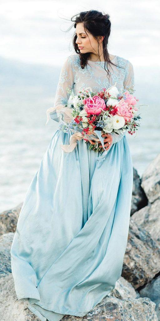 colored wedding dresses a line with illusion long sleeves jnoelle design