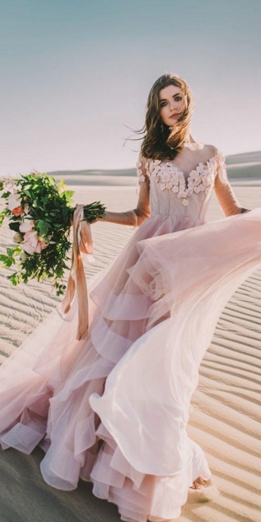 colored wedding dresses a line with illusion long sleeves pink