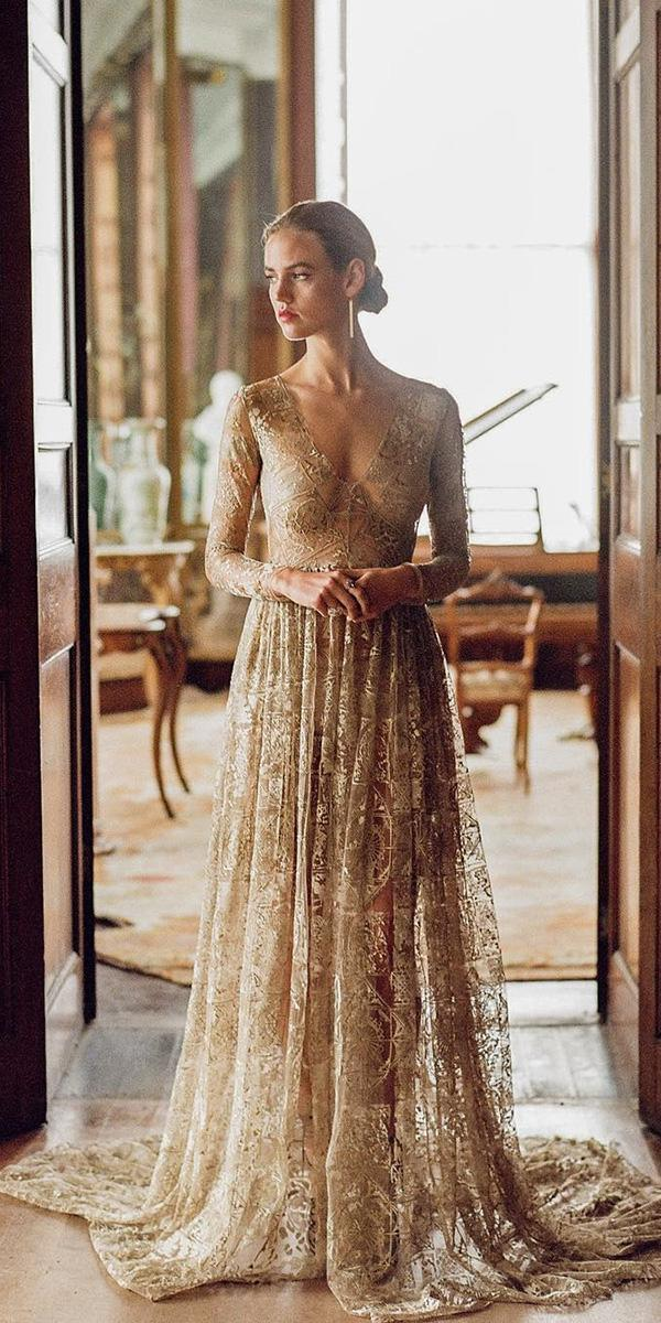 colored wedding dresses a line with long sleeves champagne lace emily riggs