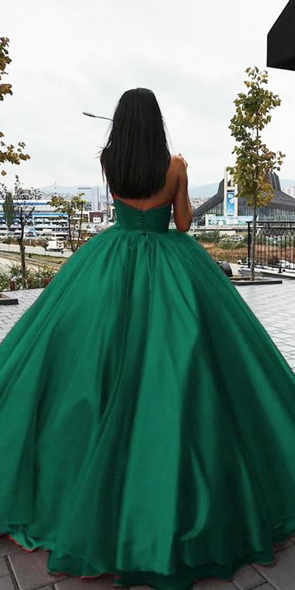 colored wedding dresses ball gown green simple liastublla