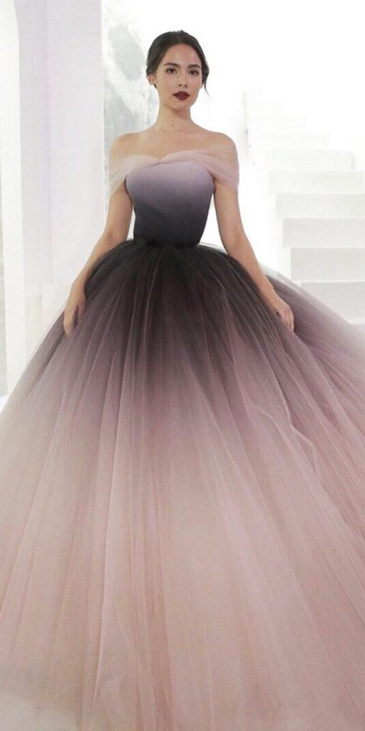 colored wedding dresses ball gown off the shoulder ombre dark purple poem