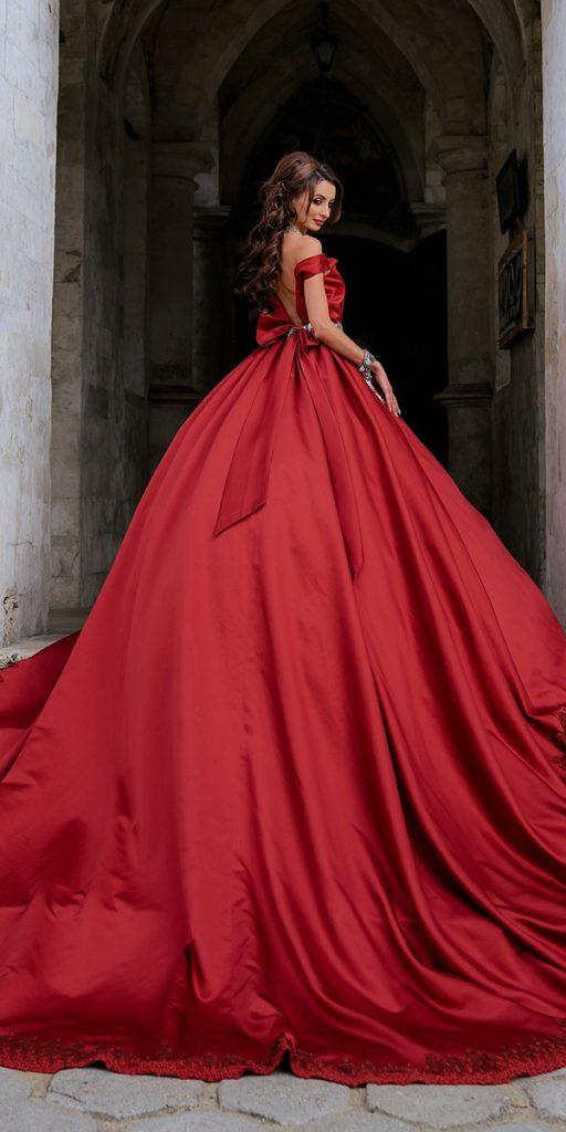 colored wedding dresses ball gown red low back ruslan arslanbekov