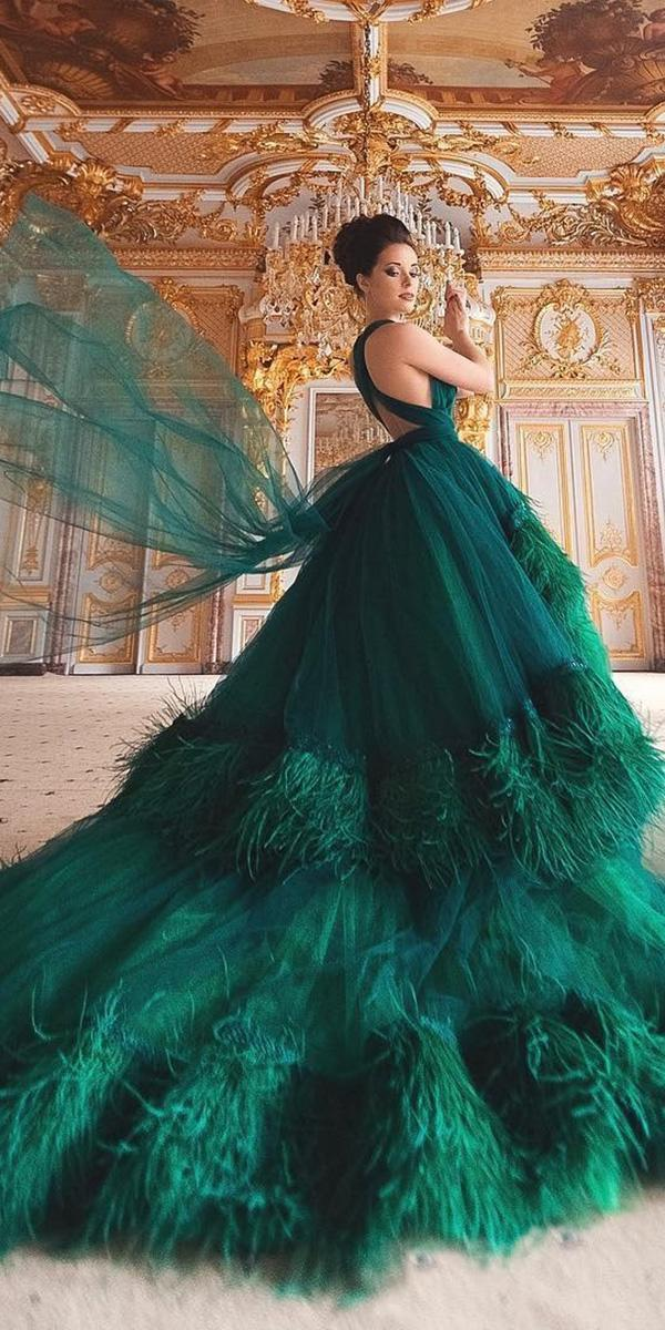 colored wedding dresses ball gown with feathers green malyarova olga