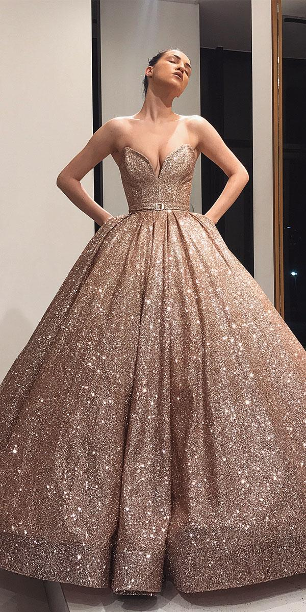 colored wedding dresses bll gown strapless sequins blush liastublla official