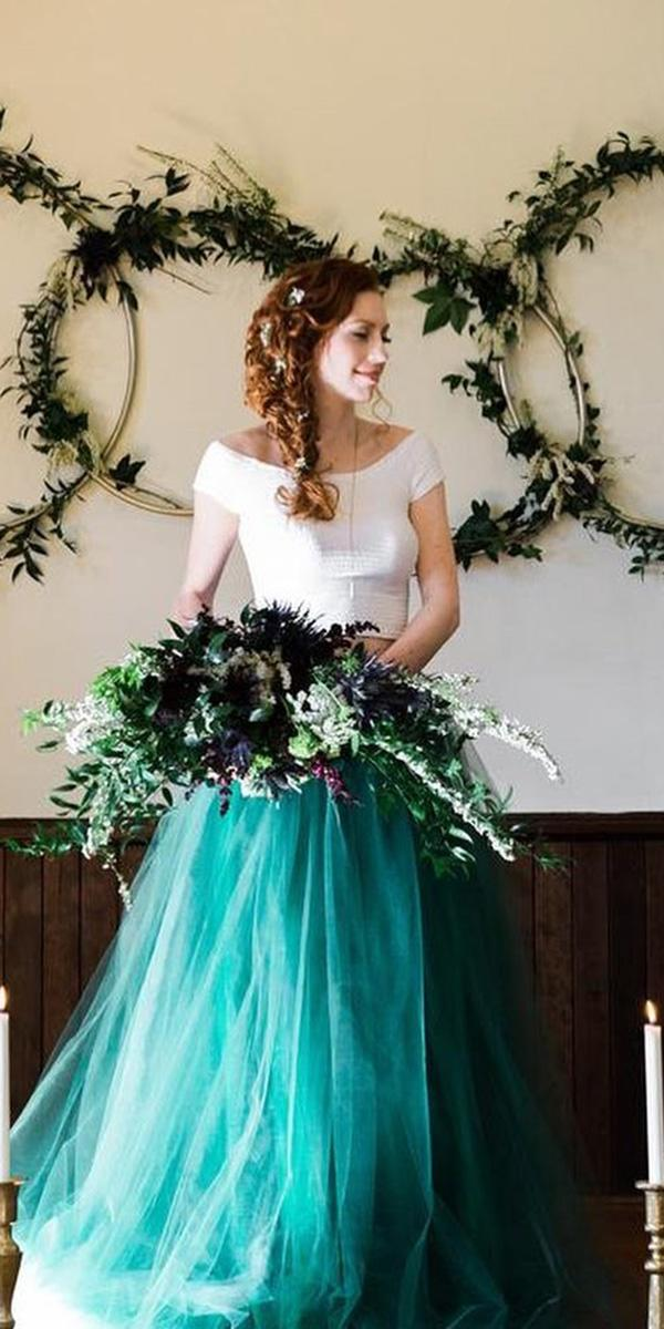 colored wedding dresses green tulle skirt french knot couture