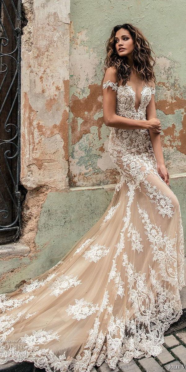 colored wedding dresses off the shoulder deep v neckline lace blush julie vino
