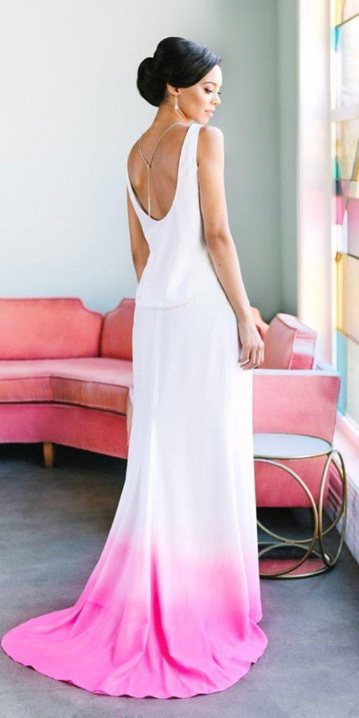 colored wedding dresses sheath back ombre for love
