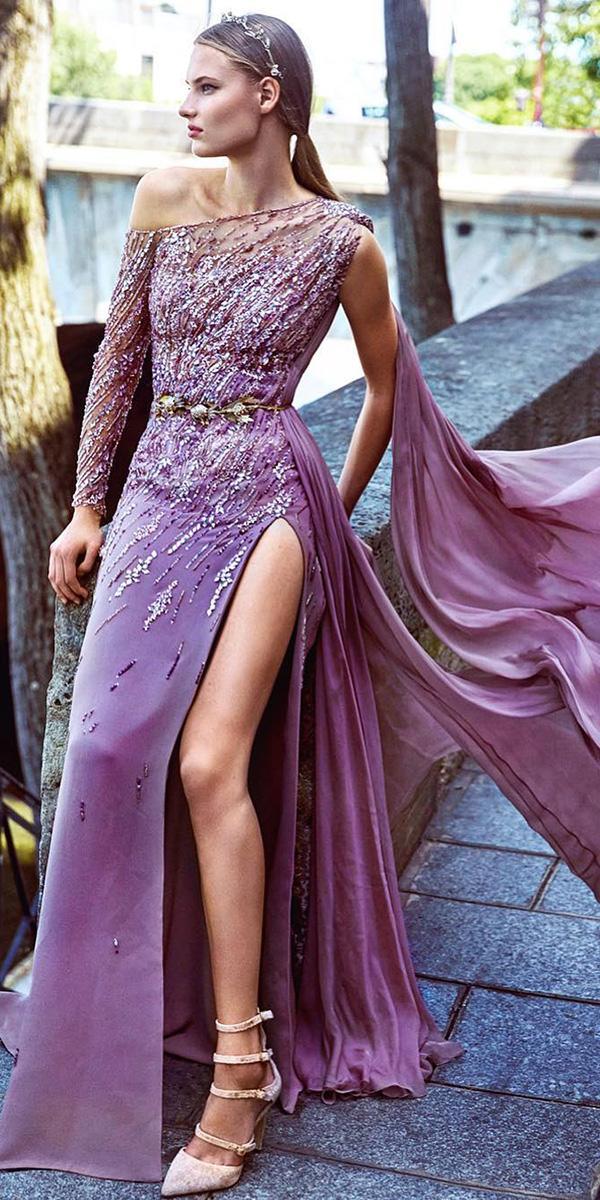 colored wedding dresses sheath one shoulder slit purple zuhair murad