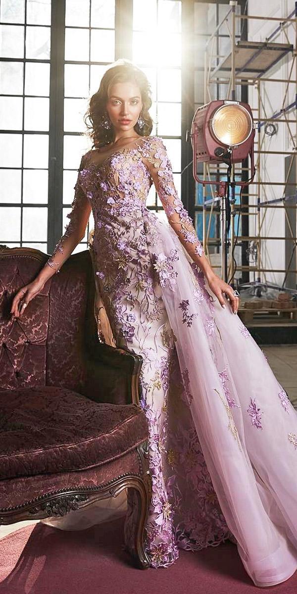 colored wedding dresses sheath with overskirt floral purple elena vasylkova