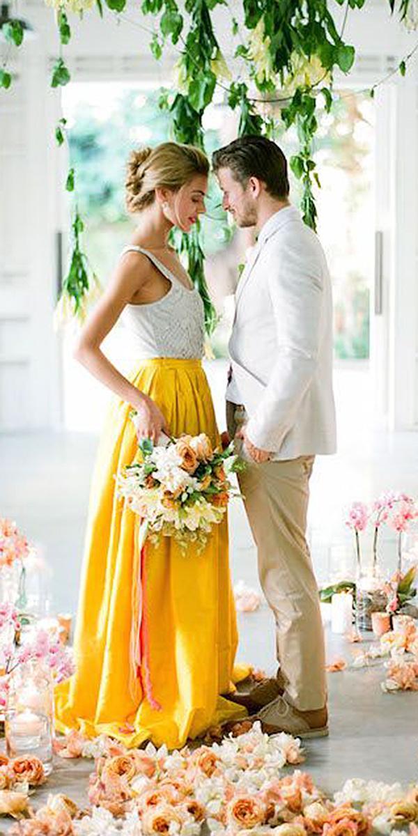 colored wedding dresses sleeveless yellow skirt jose villa