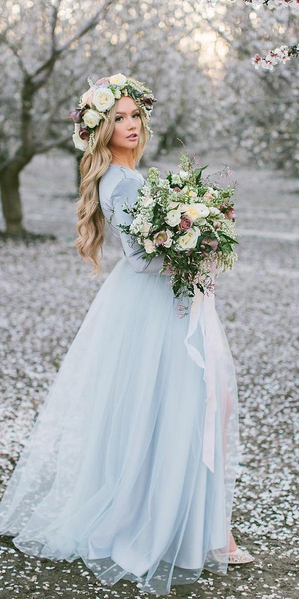 colored wedding dresses with long sleeves blue bliss tulle