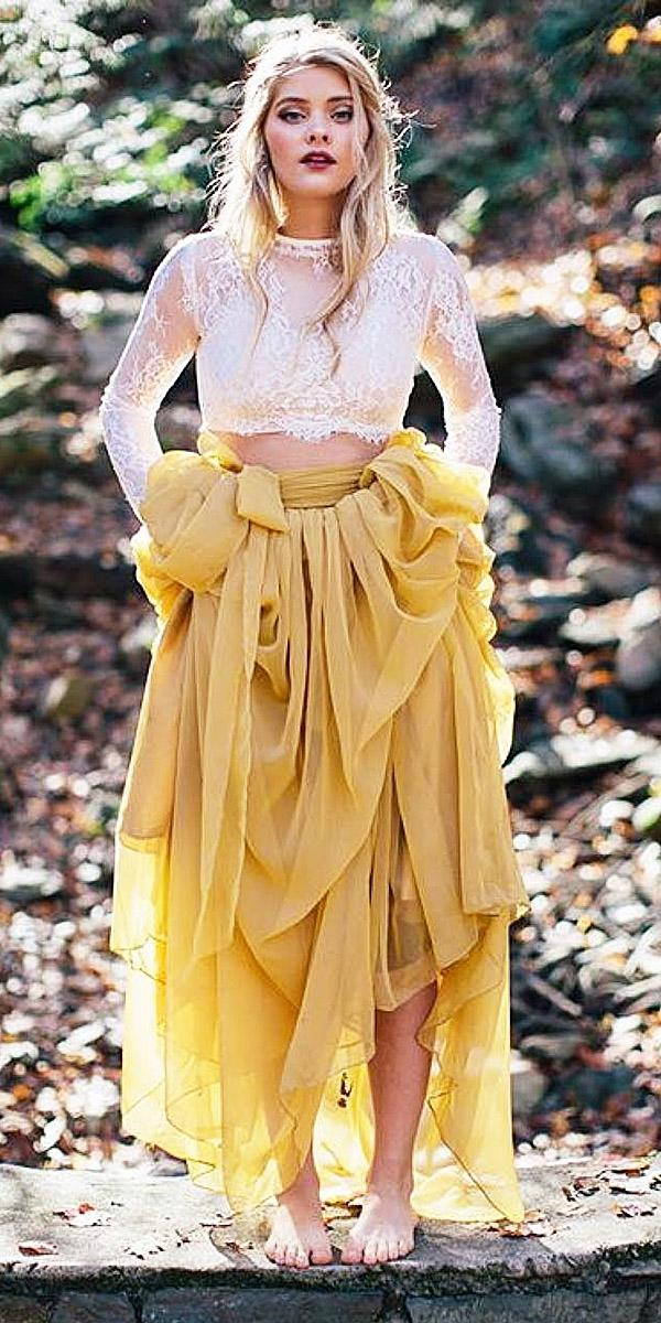 colored wedding dresses with long sleeves lace top tulle skirt yellow brimorse