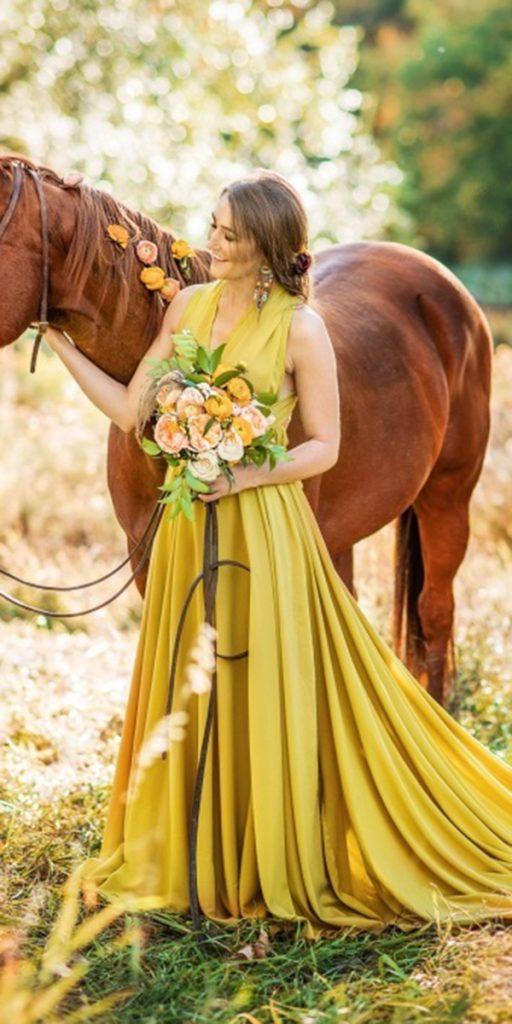 colored wedding dresses yellow v neckline long ginny haupert photography