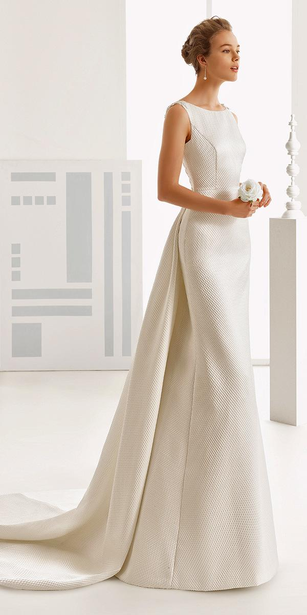 cute simple closed nackline with belt rosa clara wedding dresses