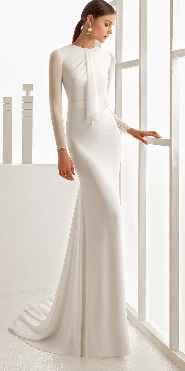 cute simple empire with sleeves rosa clara wedding dresses