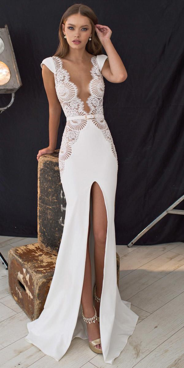 lace deep v neckline with high slit sexy wedding dresses neckline lian rokman