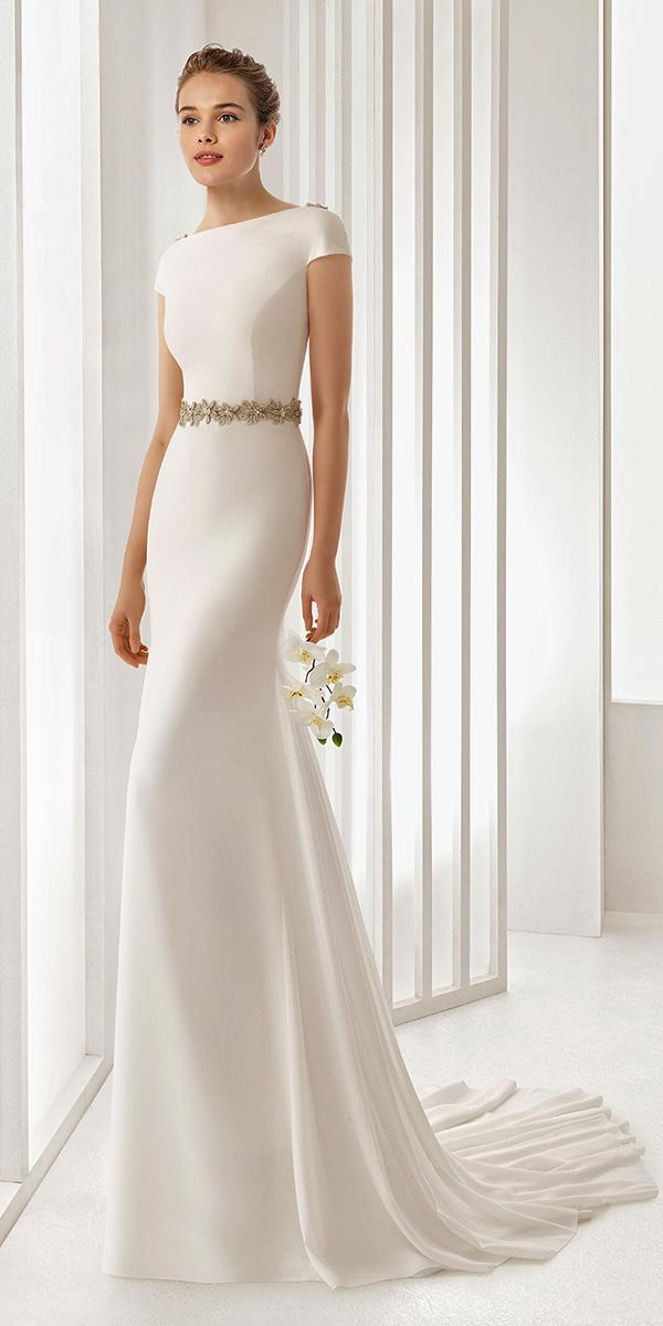 elegant empire with short sleeves rosa clara wedding dresses