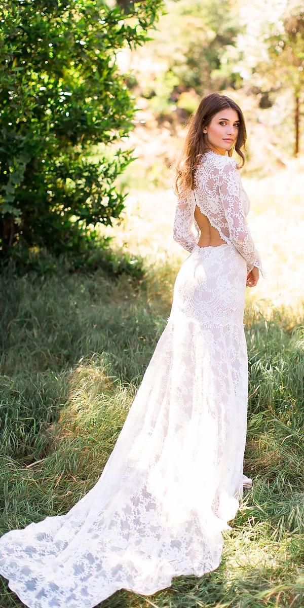 elegant vintage wedding dresses lace sheath open back with long sleeve claire pettibone