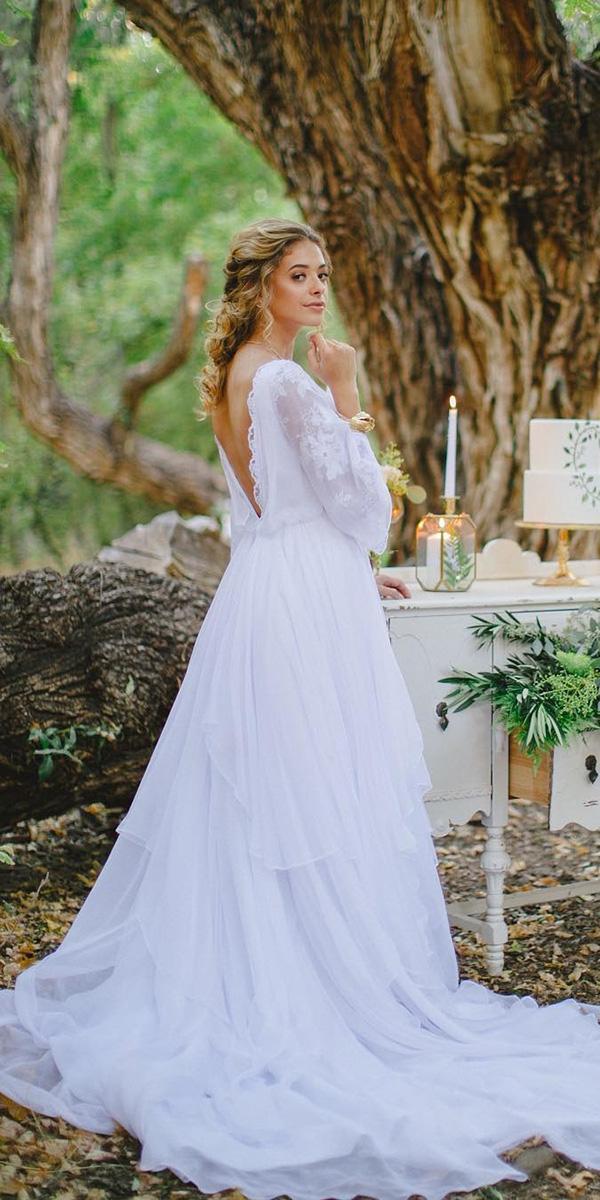 elegant wedding dresses a line v back with sleeves sassy chic bridal