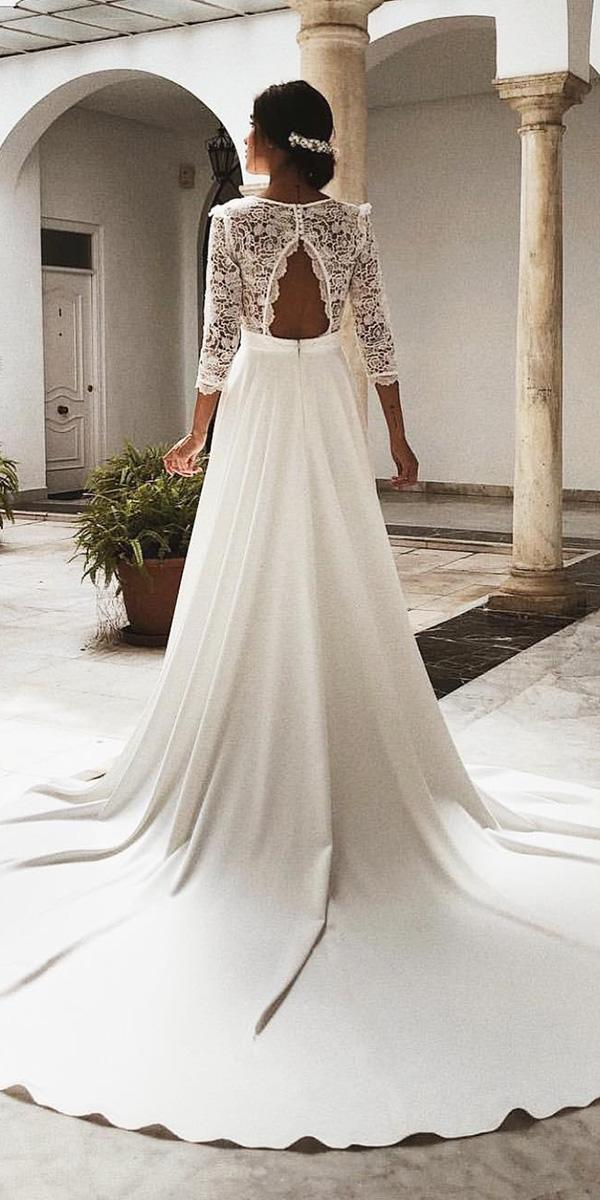 elegant wedding dresses a line with three quote sleeves lace top open back rocio osorno costura