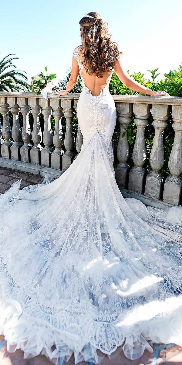 elegant wedding dresses mermaid lace low open back galia lahav