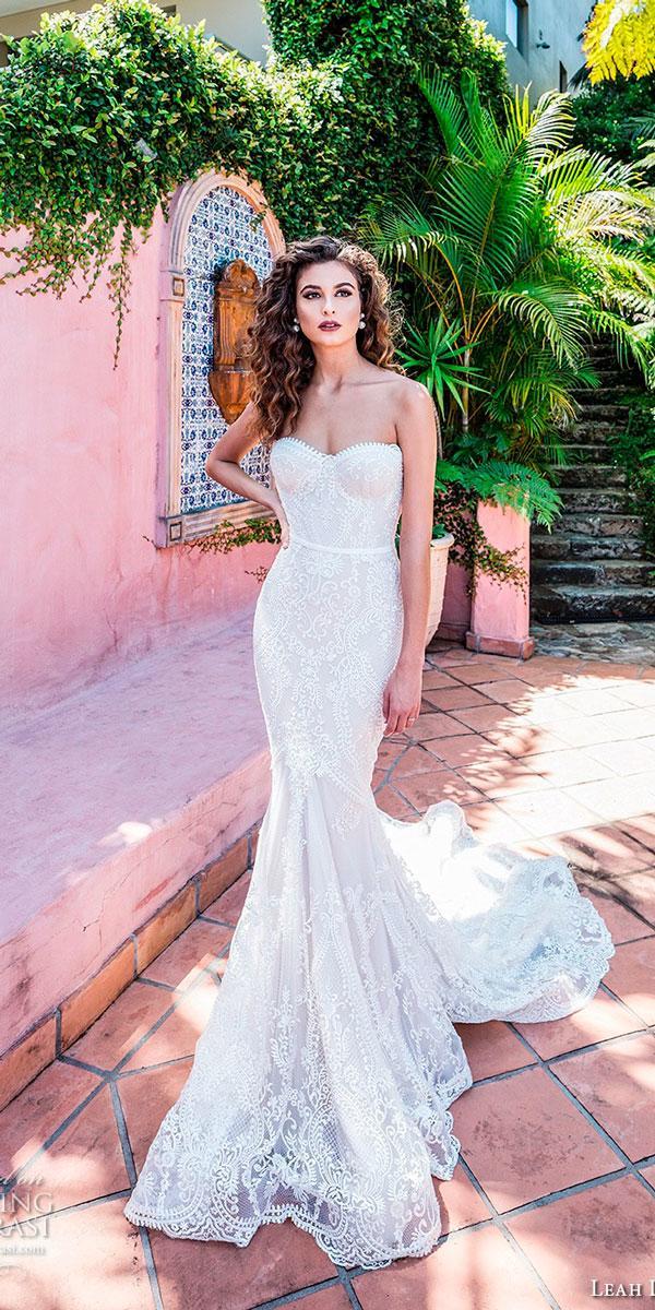 elegant wedding dresses mermaid lace strapless sweetheart neckline leah da gloria