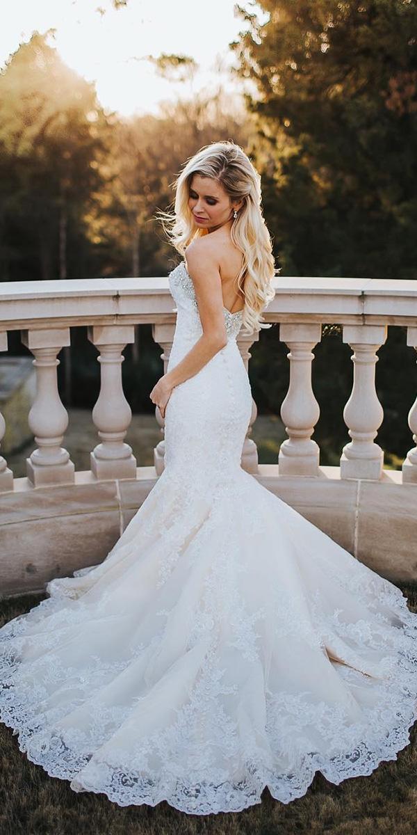 elegant wedding dresses mermaid low back lace sexy christim photo
