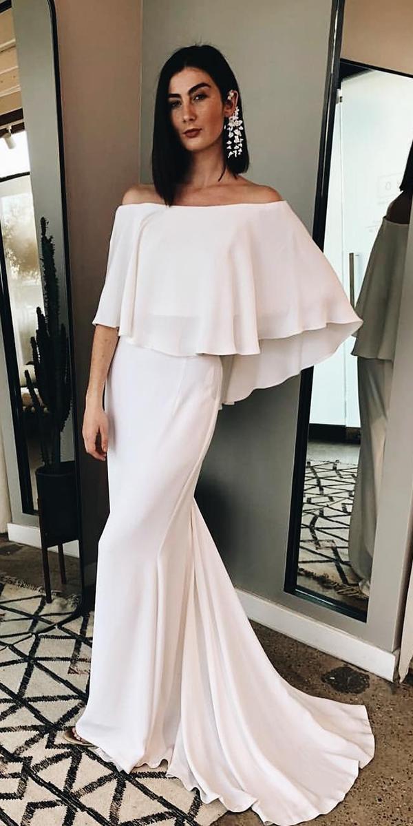 elegant wedding dresses sheath straight across classy loho bride