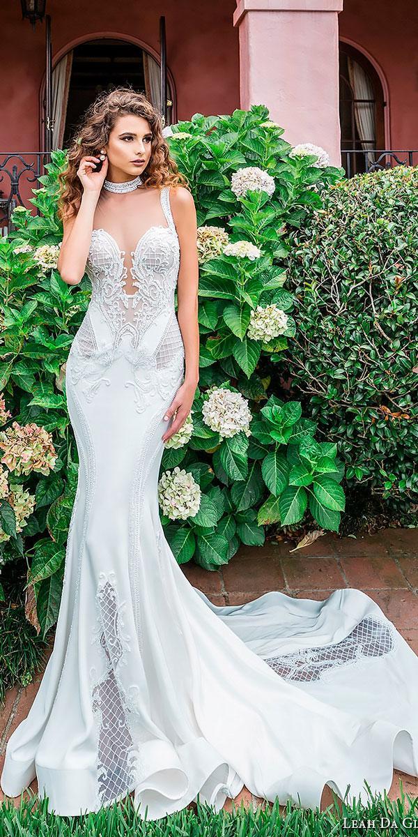 elegant wedding dresses vintage mermaid sleeveless strap deep plunging sweetheart neckline leah da gloria