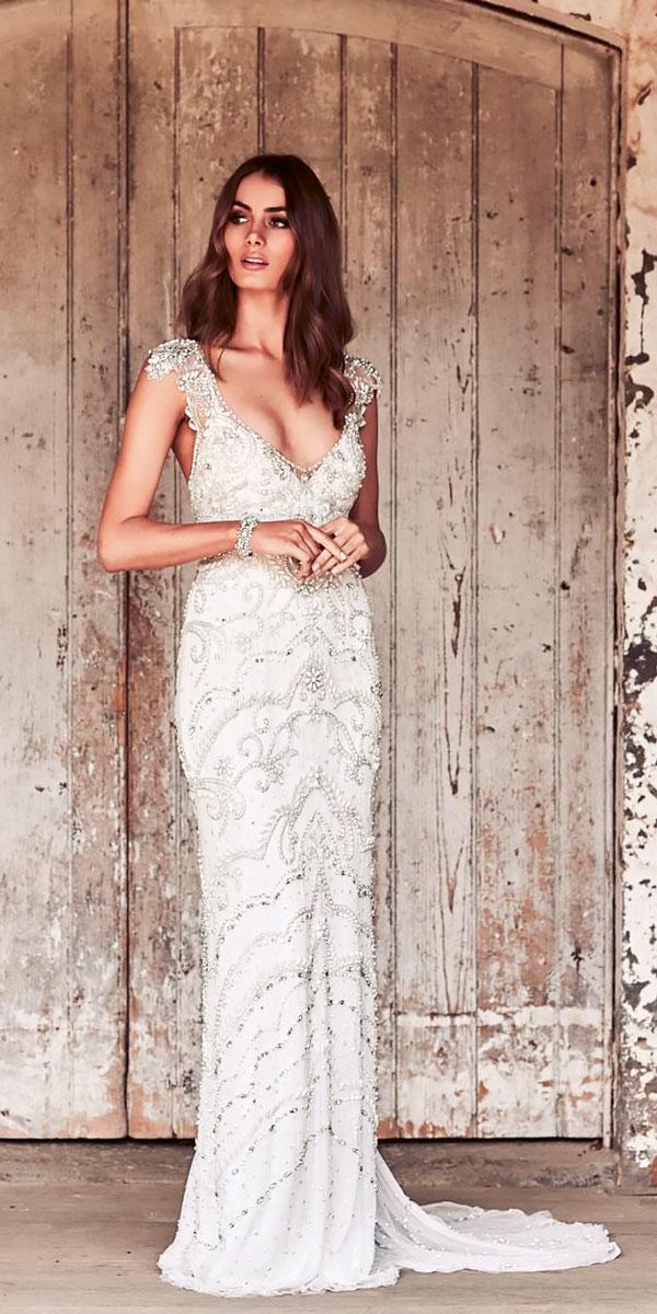 elegant wedding dresses vintage-v neckline with cap sleeve anna campbell