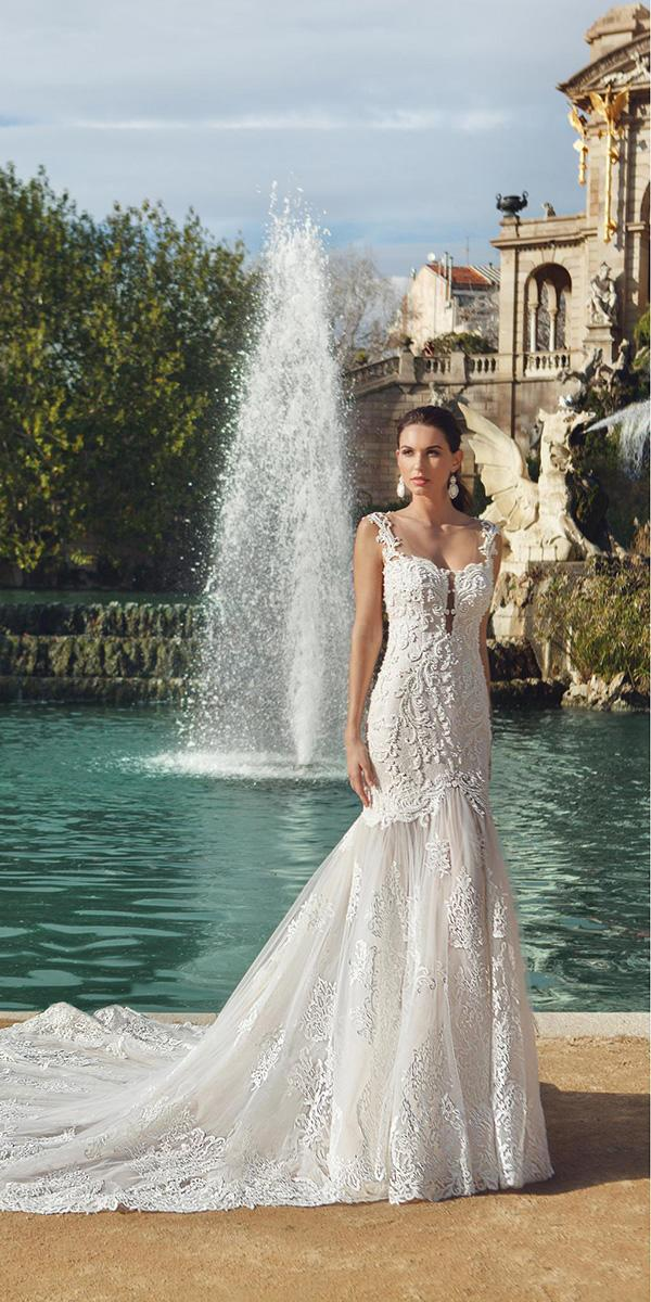 embroidered lace mermaid with sweetheart and train ricca sposa wedding dresses