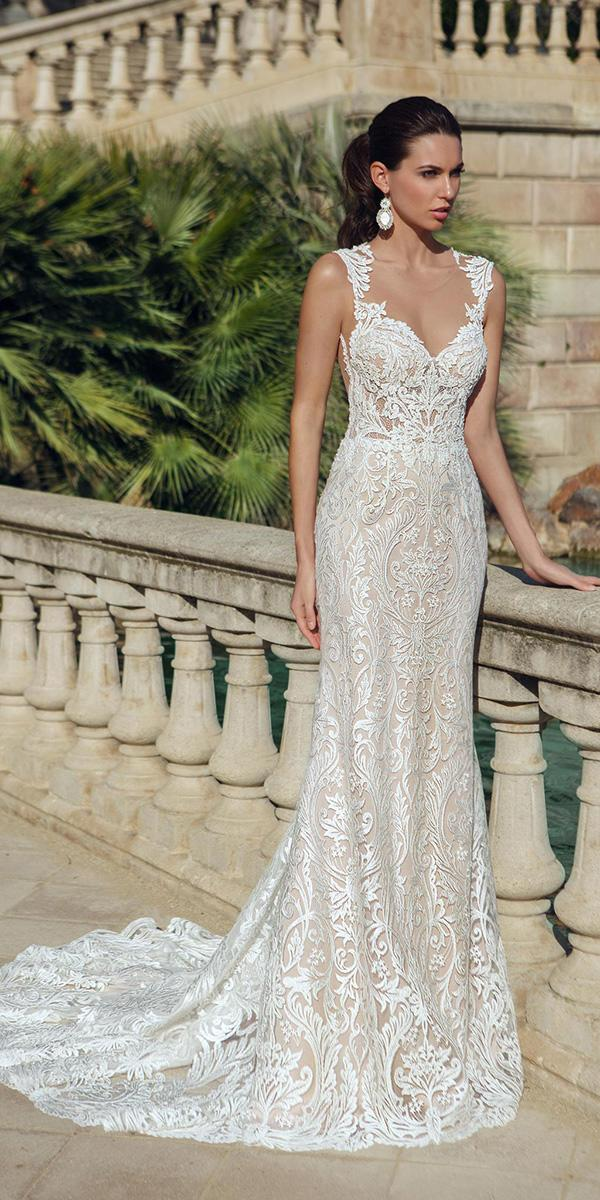 embroidered lace sheath with queen anne and train ricca sposa wedding dresses
