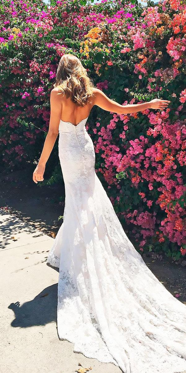 fit and flare lace beach open back wedding dresses lhuillier bride