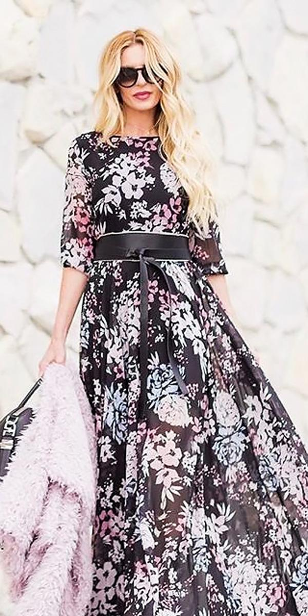 floral long with sleeves beach wedding guest dresses tyler chase