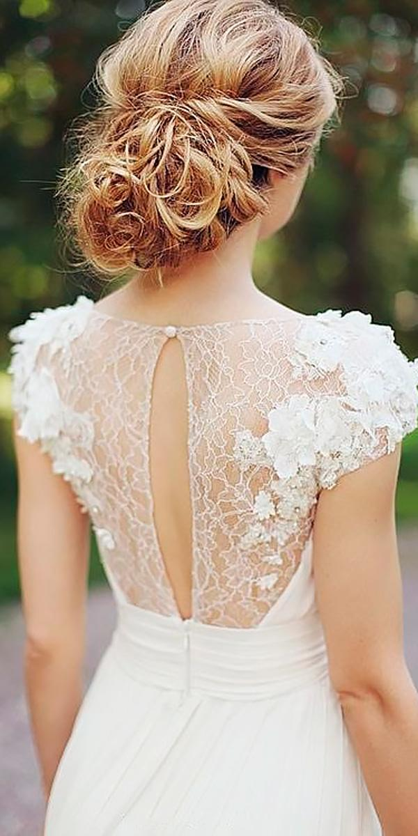 floral wedding dreeses with lace short sleeves and open back sonya khegay
