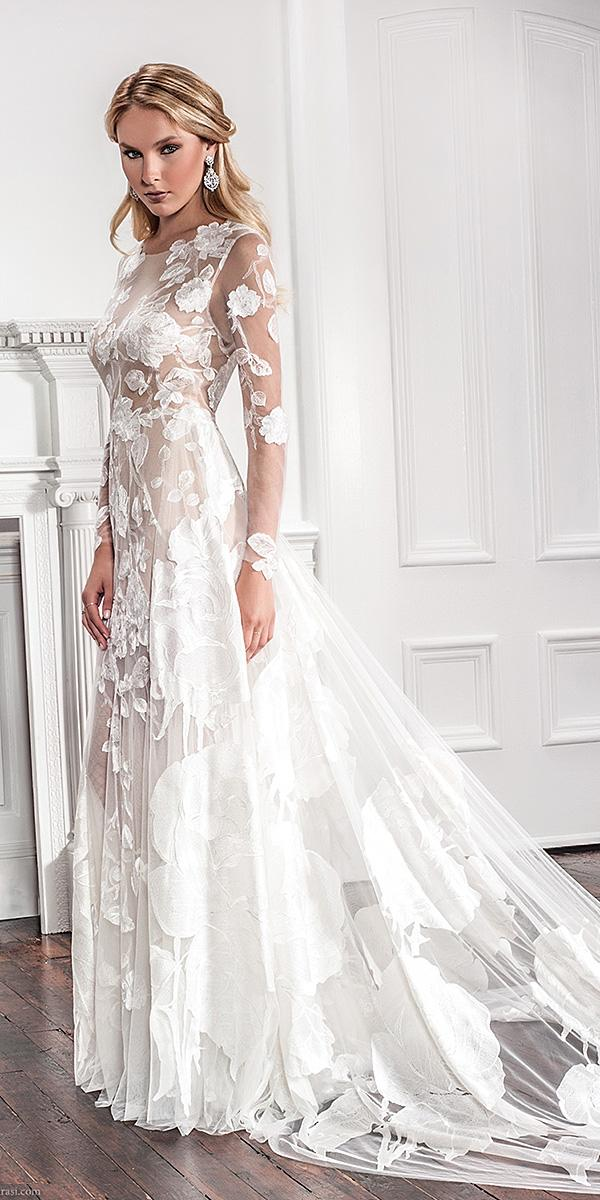 floral wedding dresses beach full embroidered applique lace elegant ilusion sleeves by callie tein