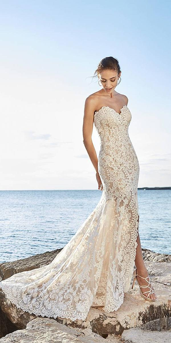 floral wedding dresses beach lace with short train eddyk bridal