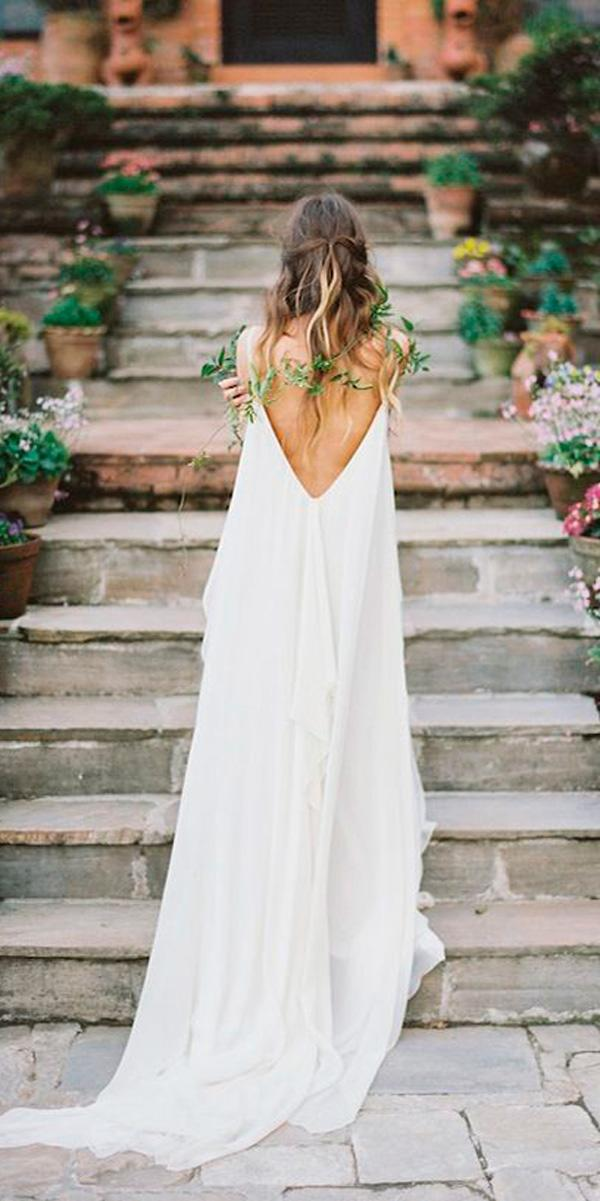 flowy v shape open back boho wedding dresses carol hannah