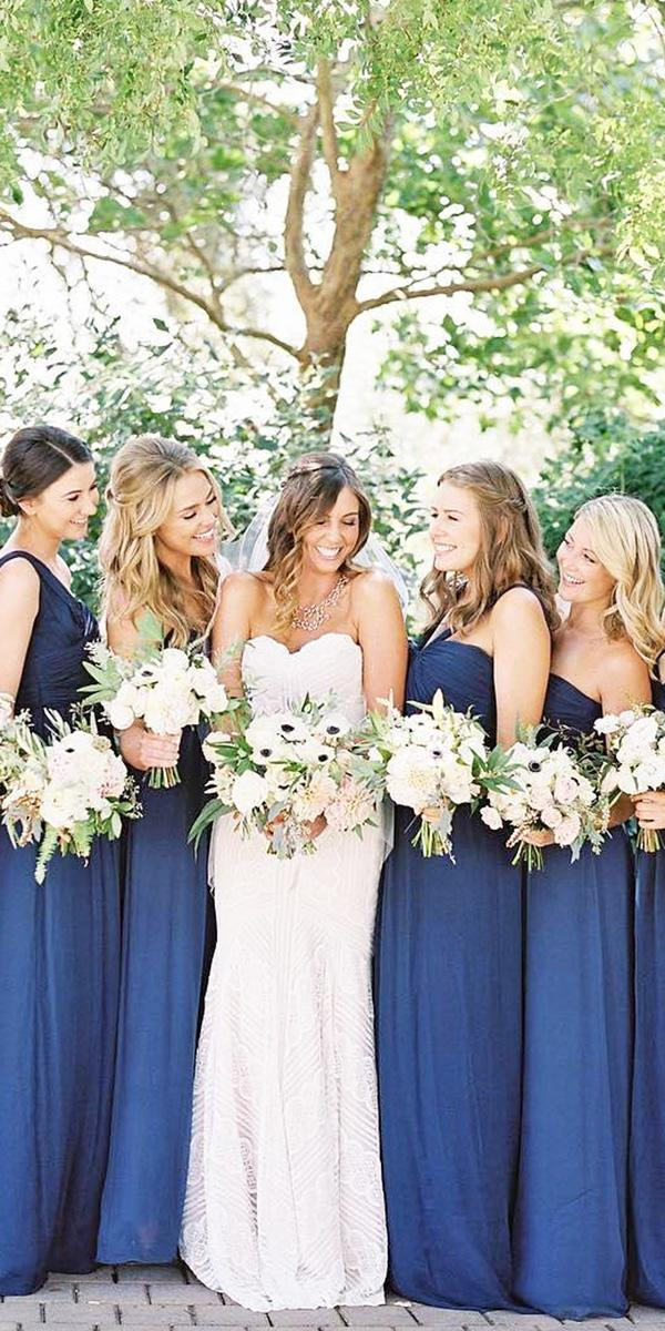 full length navy bridesmaid dresses amsale bridesmaids