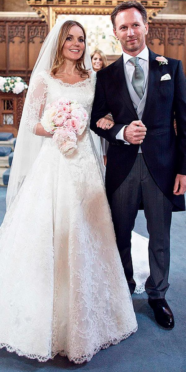 geri halliwell lace a line celebrity wedding dresses with long sleeves and veil phillipa lepley