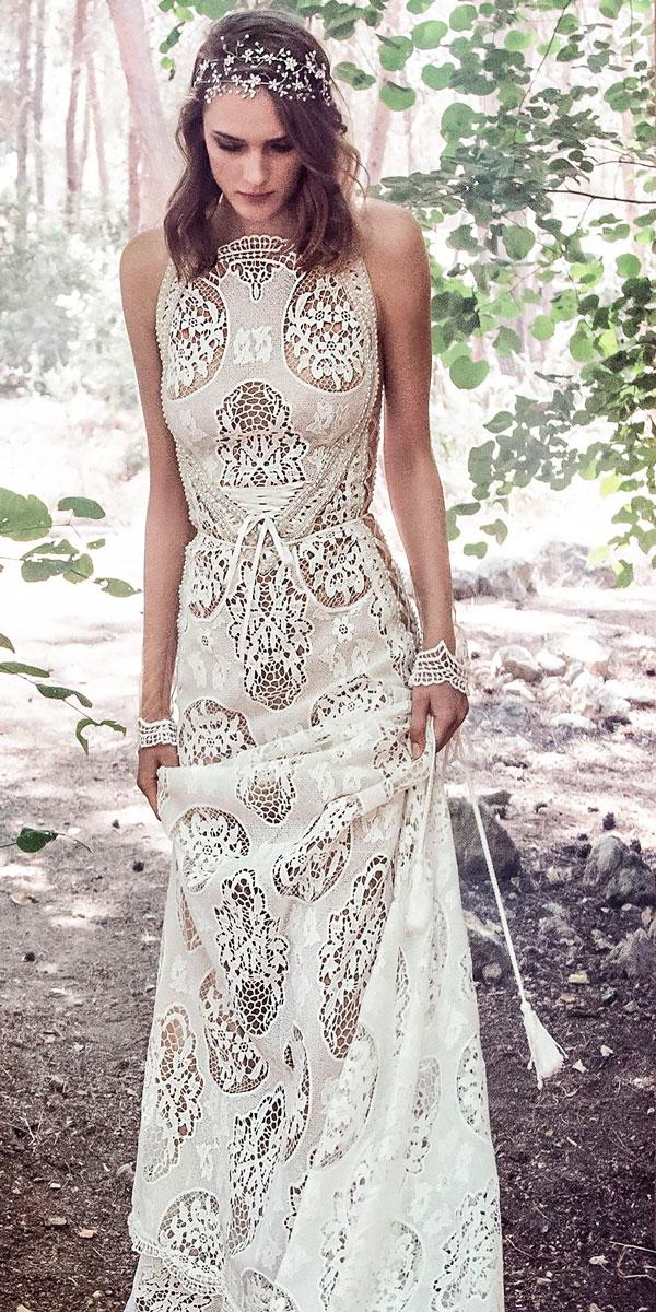 halter neck a line modest boho wedding dresses mid strap back short train galia lahav