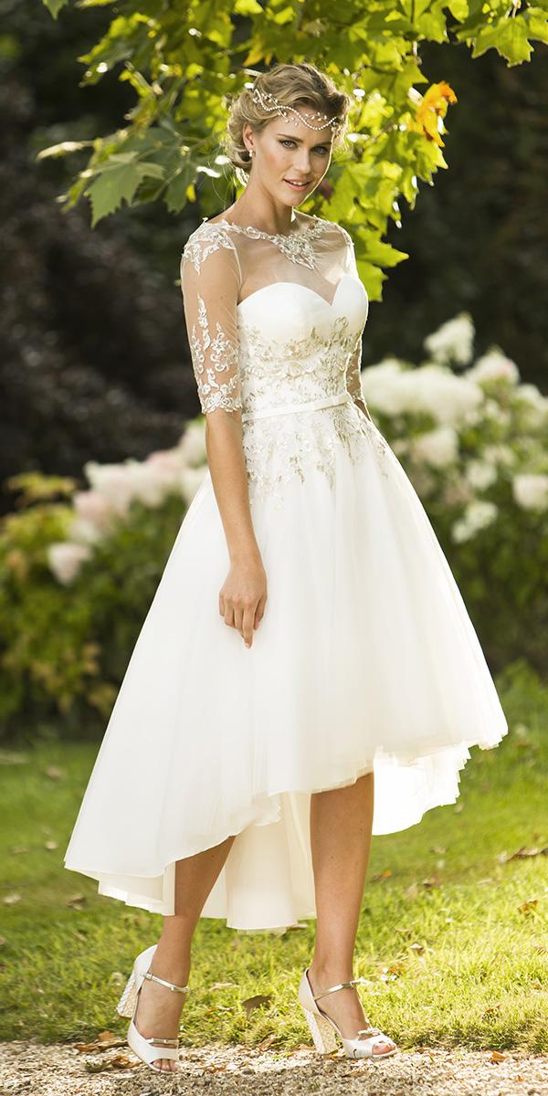 high low wedding dresses illusion neckline three quote sleeves ocean bridal studio