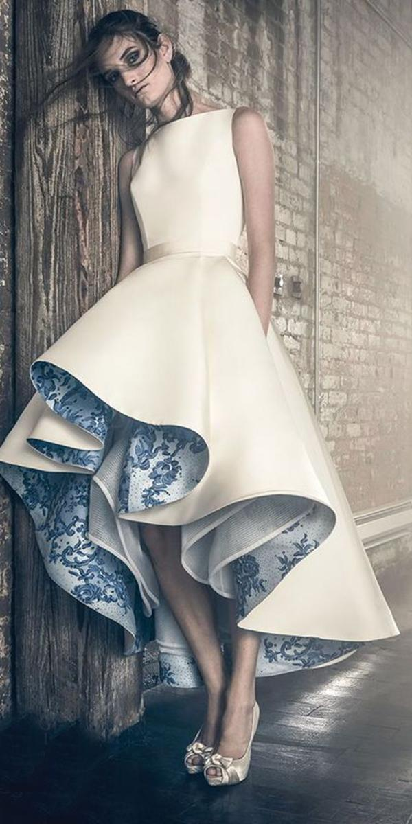 high low wedding dresses sleveless jewe neckline sareh nouri