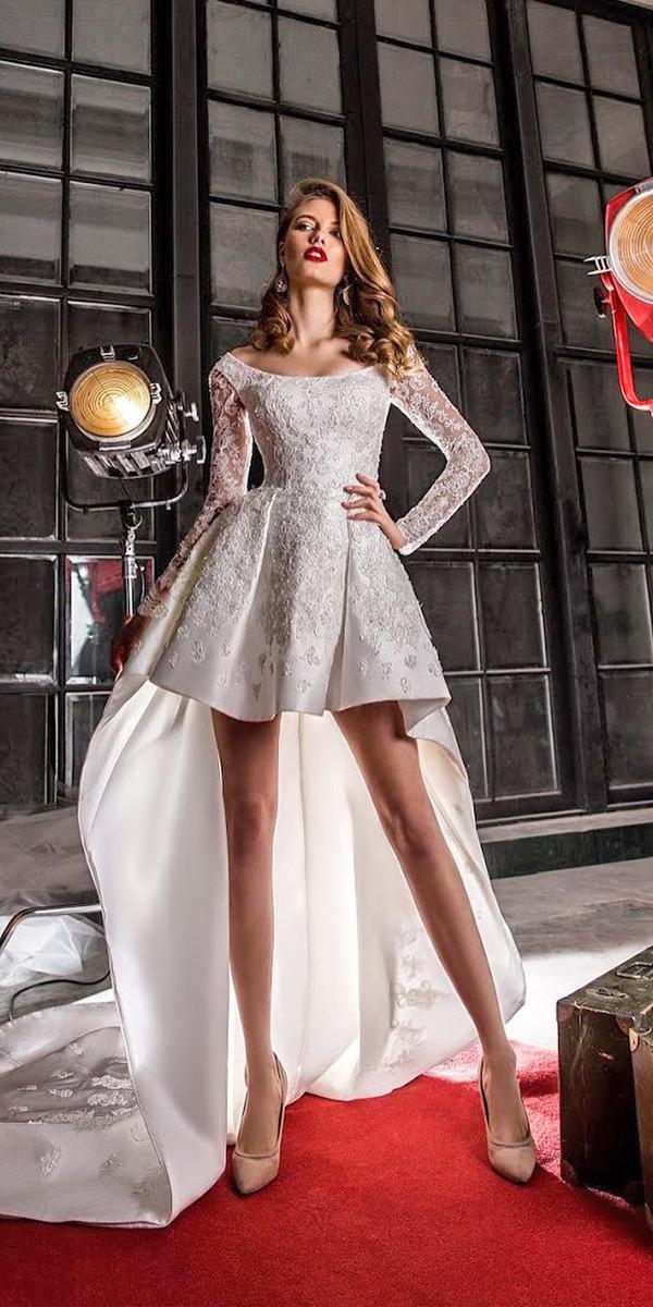 high low wedding dresses with long sleeves lace elena vasylkova
