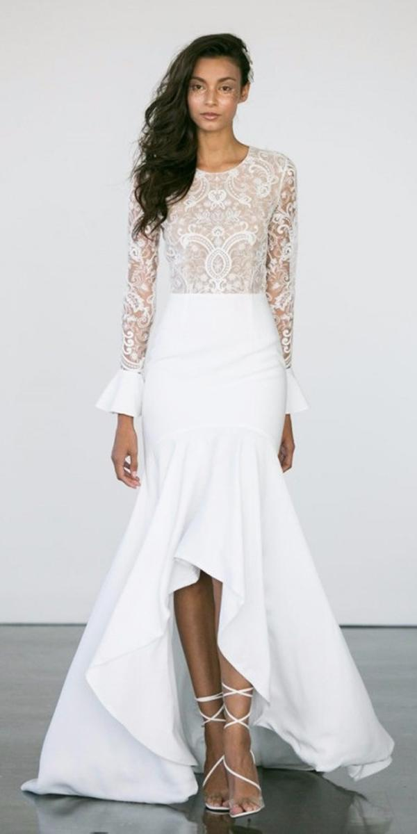 high low wedding dresses with long-sleeves lace embellishment rime arodaky