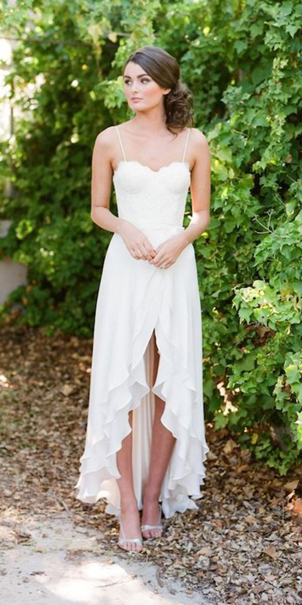 high low wedding dresses with spaghetti straps sweetheart jose villa