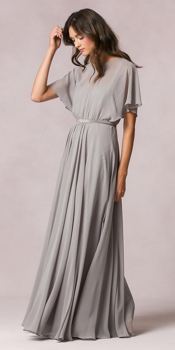 high neckline with sleeves and gathered skirt long bridesmaid dresses jenny yoo