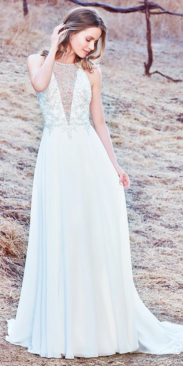 illusion deep v neckline sleeveless sheath wedding dresses 2018 maggie sottero