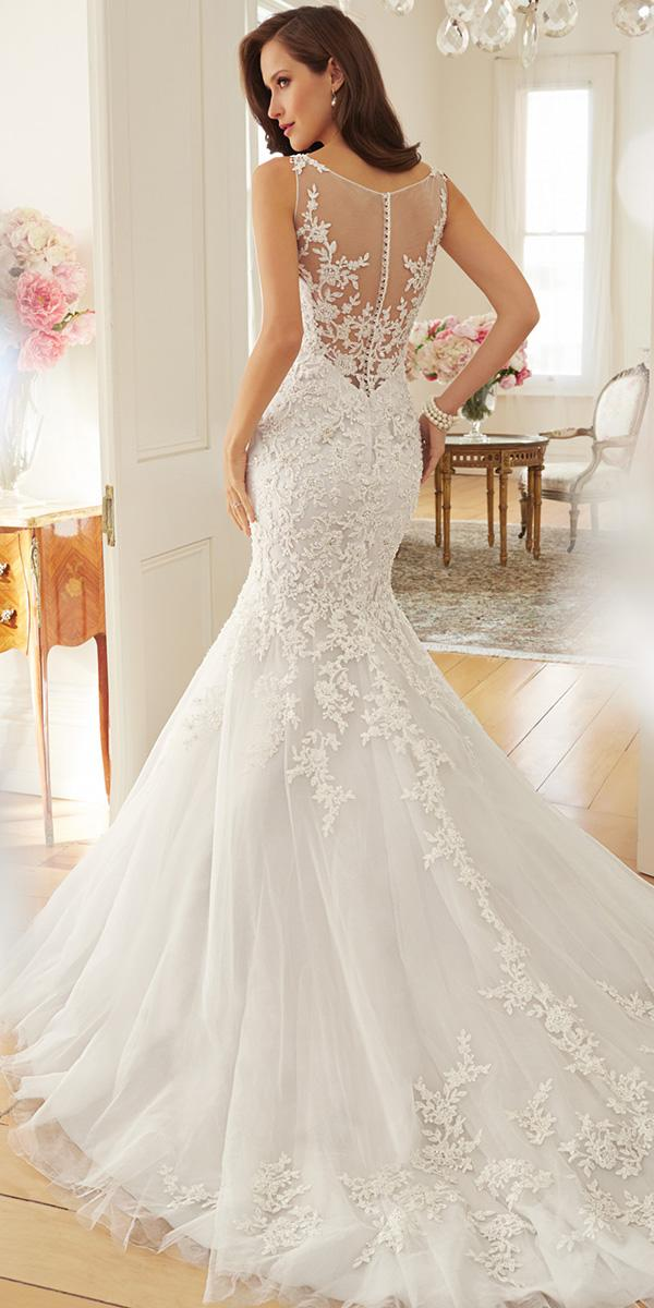 lace wedding dresses with illusion low back mermaid style by sophia tolli